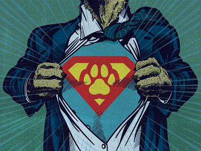 Power of Paws super dog superman superhero design graphic design editorial blockprint lino digital acrylic ink editorial illustration illustration