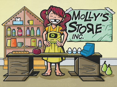 Grocery Store girl kid store digital illustration editorial digital acrylic ink editorial illustration illustration