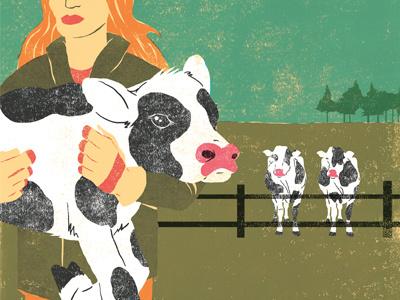 Cow Family calf milk farming farm landscape digital acrylic ink editorial cow cows illustration