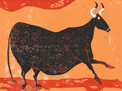 Bull Dribbble acrylic ink bull cow hand print illustration lino print lino cut lino