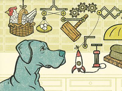Clever Girl rube goldberg dog editorial illustration illustration