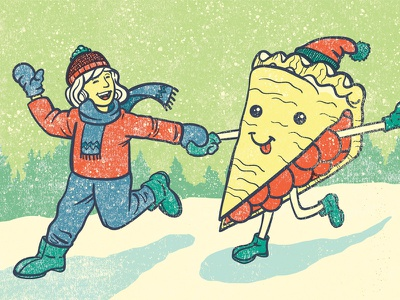 For the Love of Pie woman snow holiday pie editorial illustration illustration