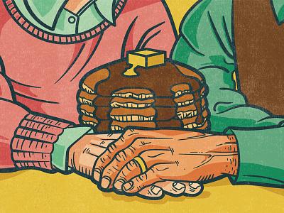 Pancake Love blockprint lino ink acrylic digital editorial illustration illustration