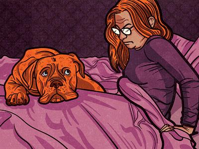 Sleeping Partner editorial lino ink acrylic blockprint digital editorial illustration illustration