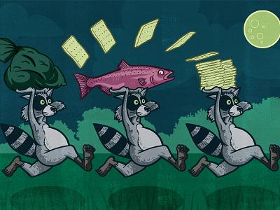 Raccoons editorial acrylic blockprint lino ink digital editorial illustration illustration