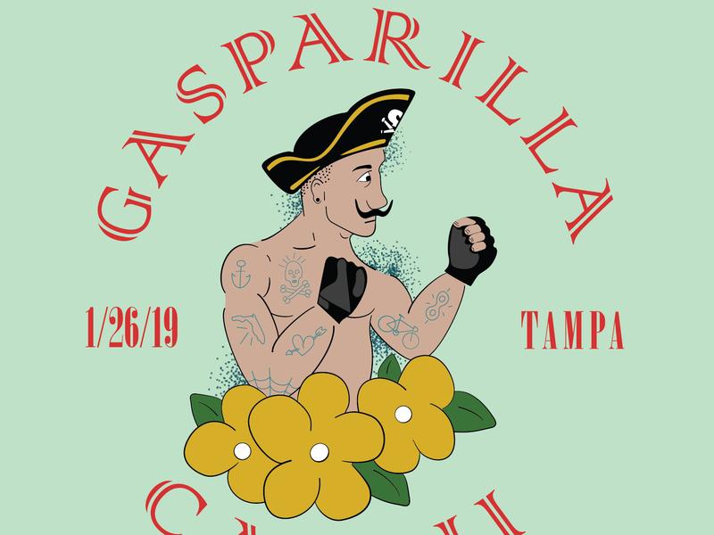 Gasparilla Cat II tampa bay illustrator vector graphic  design graphic art pirate americana fixed gear alleycat cycling hand drawn illustration