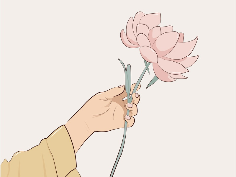 peony adobe illustrator woman hand pastel simple peony flower flat illustrator illustration vector minimal graphic  design design