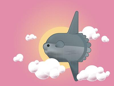 Day - Sunfish flight fish sun illustration