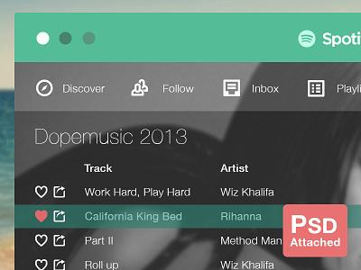 (PSD) Spotify Flat application nabil music player ux ui red dark white green flat spotify
