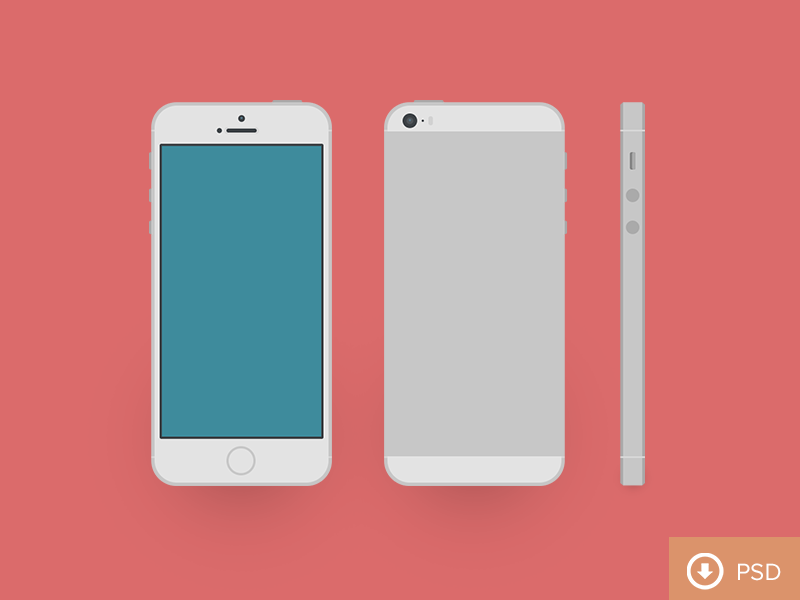 (PSD) iPhone 5s psd freebie illustration iphone 5s 2013 clean flat flatfilthy
