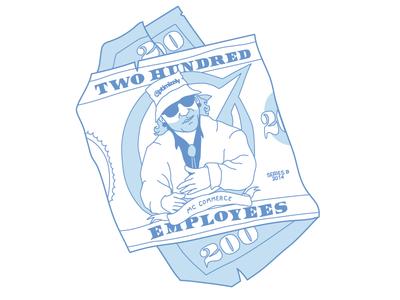 200 Employees swag optimizely mc commerce illustration 200 dollar bill 200 tshirt design