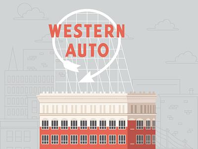 Western Auto Building midwest kcmo kansas city building auto western design texture illustration