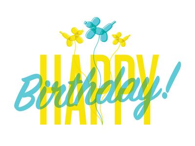 Happy Birthday Card balloon dog illustration typography