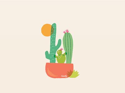 Cactus Family fun drawing sun illo illustration family plants cactus