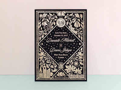 Danielle + Deane wedding design foil stamp save the date wedding stationery
