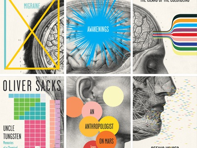 Oliver Sacks, six book series book collage pop color series