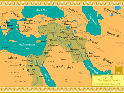 Neo-Assyrian Empire Map antique cartography 2d design mapping middle east assyrian map illustration