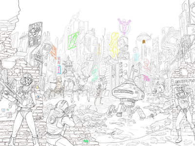 War of the Acid Youth robot sciencefiction characterdesign conceptart illustration cyberpunk 2d drawing