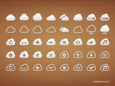 Cloud PSD Icon Set flat flat icon flat icons psd cloud icon icons icon set vector free psd freebie illustrator