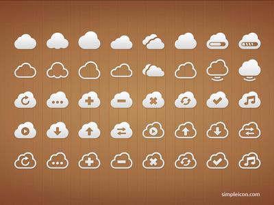 Cloud PSD Icon Set