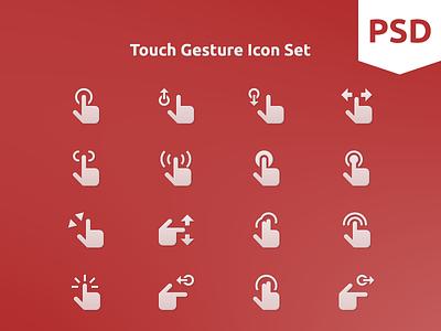 Touch Gesture Icon Set psd free freebie icon icon set flat icon glyph icons