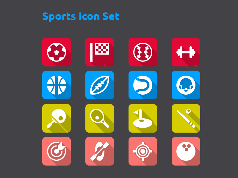 Sports Icon Set icon flat icons psd vector gui ui flat icon shadow long shadow