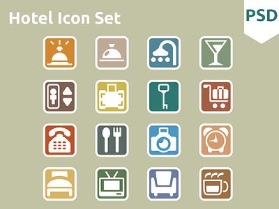 Hotel Icon Set free psd icon icons ui flat freebies