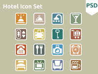 Hotel Icon Set free psd icon icons ui flat freebies