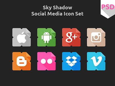 Sky Shadow Social Icons free psd freebies flat icon social icon icons ui