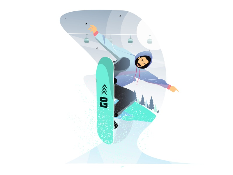 Snow Skater character illustration sports illustration boy illustration landscape illustration happy illustration illustration
