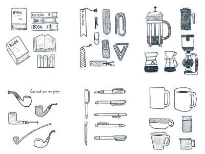 Food x Reading Sketches fountainpen pen pipe bookmark mug siphon chemex coffee books book drawing outline ink sketches procreate illustration design