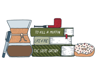 Food x Reading breakfast drawing ink pen pipe sprinkles donut reading book books coffee procreate illustration design