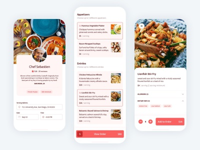 Personal Chef Food Menu 2020 ui delivery clean minimal modern mobile ui user interface account profile shop cart checkout order menu items menu food ios mobile app
