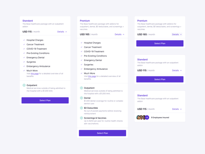 Private Healthcare Plans dashboad saas card cards health care price ecommerce health dashboard app web flat ui design system component employee pricing plan pricing insurance healthcare