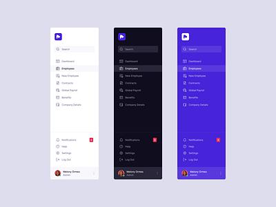 Sidebar Navigation UI flat clean minimal nav bar dark dark theme grid b2b dashboard saas navigation bar ux app web menu navbar icons ui sidebar navigation