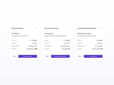Compensation Modal Component simple flat clean minimal settings popup desktop web app app ux dashboard design system component fintech finance b2b saas modal modals ui