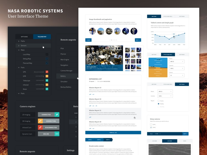 Nasa Robotic Systems User Interface Theme theme robotics minimal flat light dark app web kit ui nasa