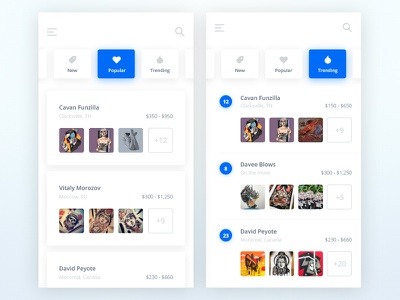 Tatto UI Kit: Artists user list material soft kit ui white app ios