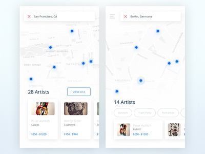 Tattoo UI Kit: Map search map ios app white ui kit soft material list