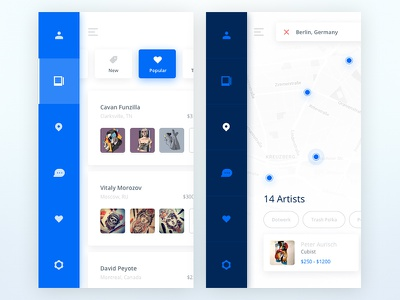 Tatto UI Kit: Menu blue menu material soft kit ui white app ios