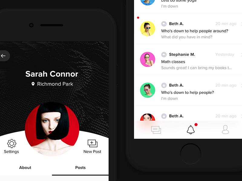 Social App ux ui post messages inbox ios minimal dark profile social app