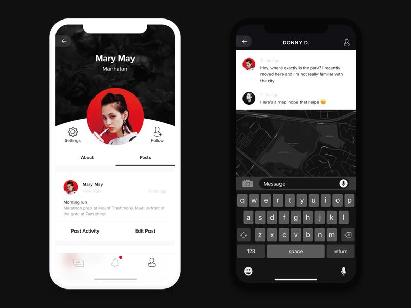 Social App   Zakovska ios app mobile chat ui minimal profile social messenger iphone x dark black