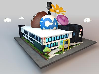SCA Hobart building lowpoly cinema4d c4d 3d modeling illustration digital illustration