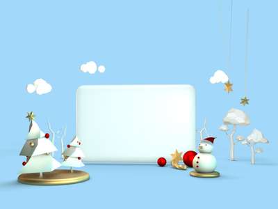 Christmas Trees and Snowman christmas tree christmas modeling trees cloud snowman graphic cinema4d c4d 3d digital illustration