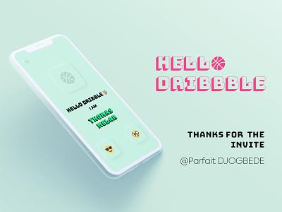 Hello Dribbble! 😄 branding flat illustration hello dribble hello debut