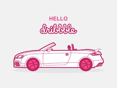Hello Dribbble! hello dribbble cars car sportscar audi tt audi sticker design sticker vector design illustration