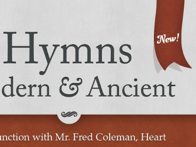 Hymns Poster texture red ribbon typography print