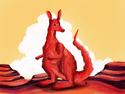 Rock Kangaroo surrealism surreal digitalart illustrated art rock kangaroo