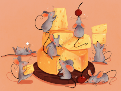 Mice and cheese conceptart digitalart cheese mice mouse illustration