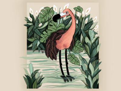 Leafy Flamingo digital art surreal flamingo leaf illustration